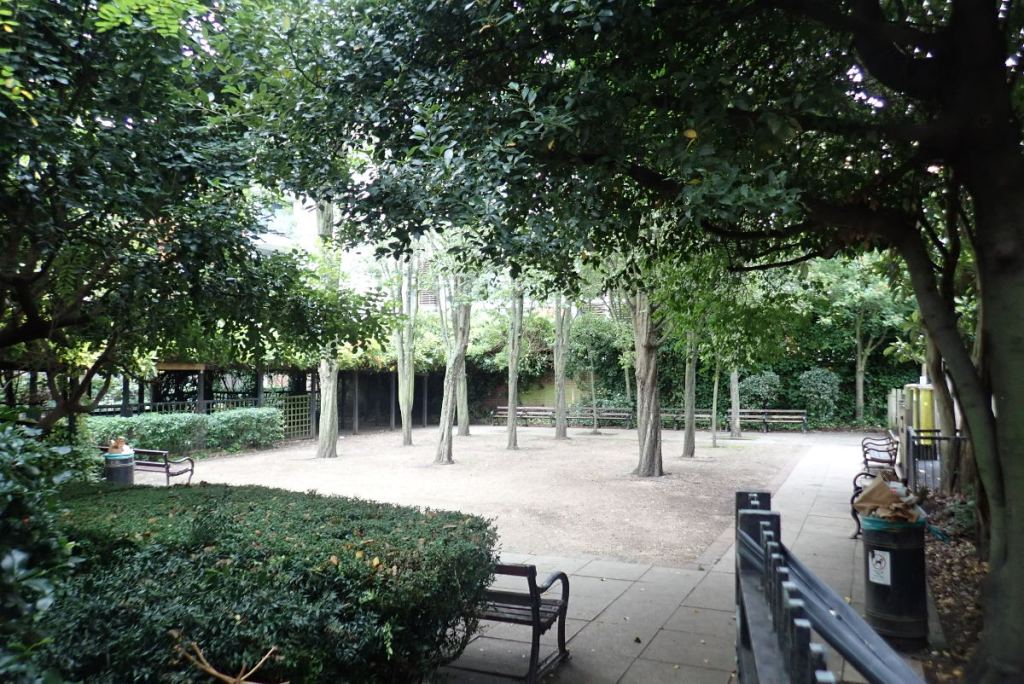 View of gravel court in park.